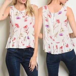 Tops - 💕 IVORY FLORAL TOP